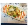 Revuelto de hongos Boletus con salsa de piquillos y nube de Idiazábal
